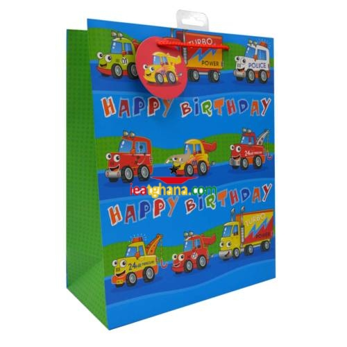 Large Gift Bags – Cartoon Cars (26cm x 32cm)